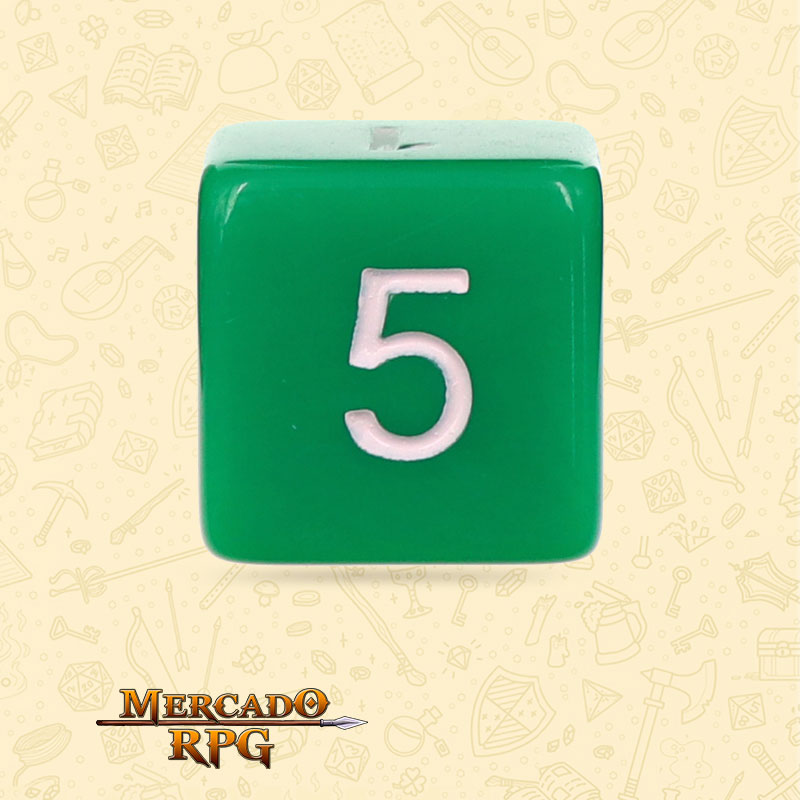 Dado de RPG - D6 Green Opaque Dice - Seis Lados - Mercado RPG
