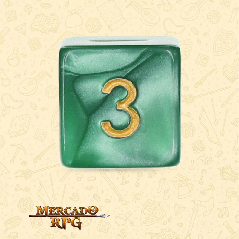 Dado de RPG - D6 Green Pearl Dice Golden Font - Seis Lados - Mercado RPG