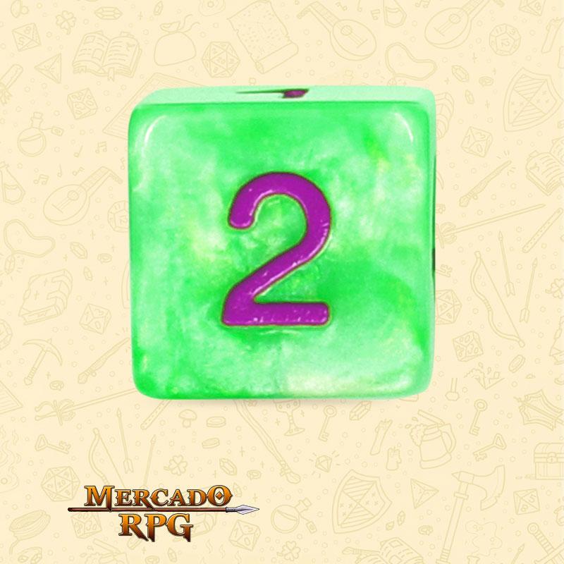 Dado de RPG - D6 Green Pearl Dice Purple Font - Seis Lados - Mercado RPG