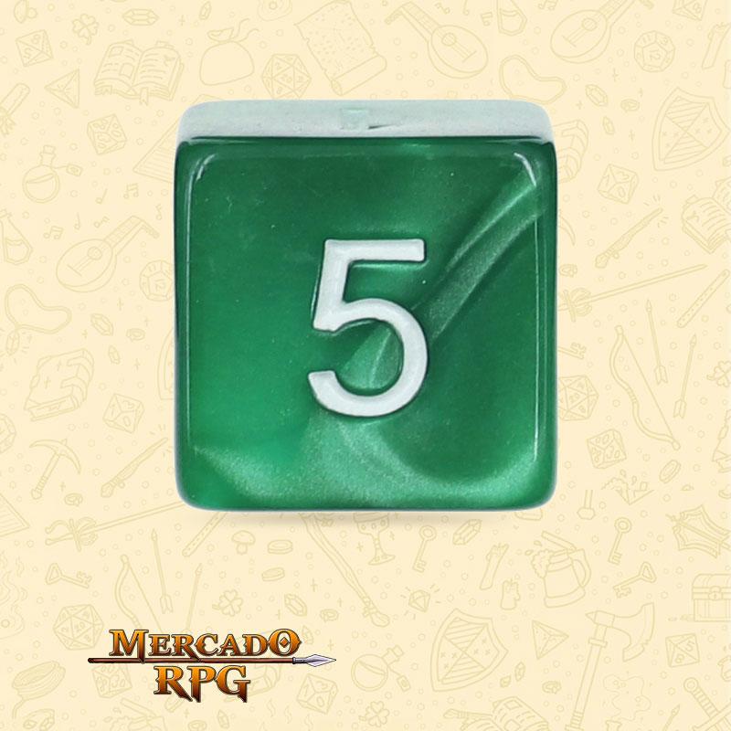 Dado de RPG - D6 Green Pearl Dice - Seis Lados - Mercado RPG