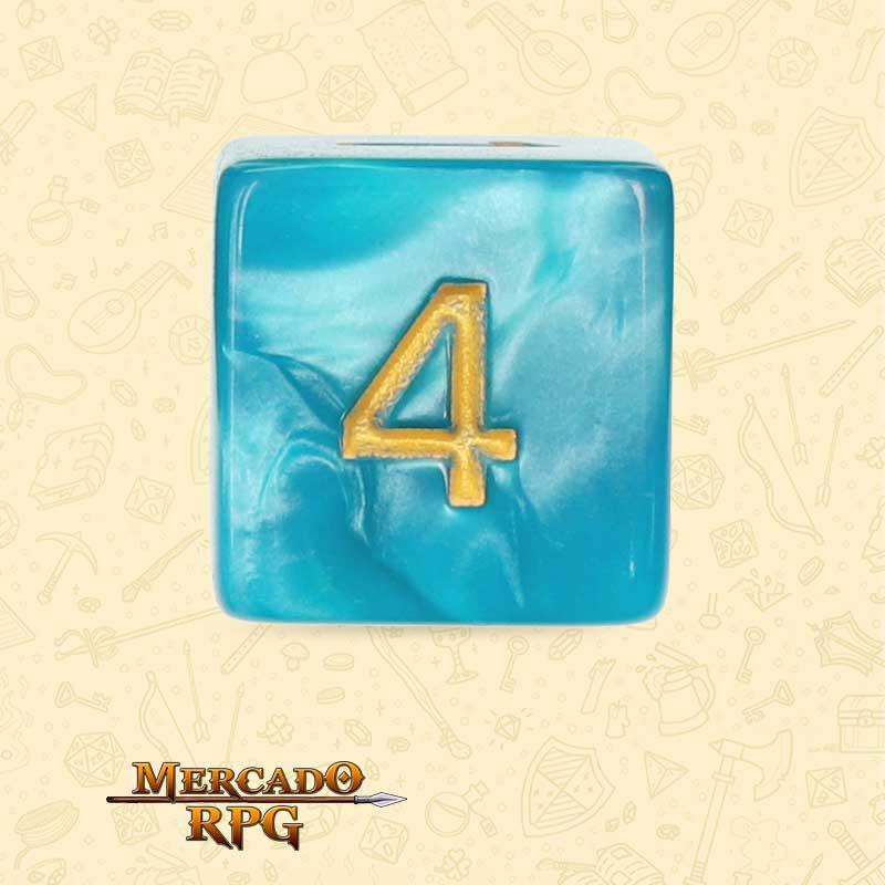 Dado de RPG - D6 Lake Blue Pearl Dice Golden Font - Seis Lados - Mercado RPG