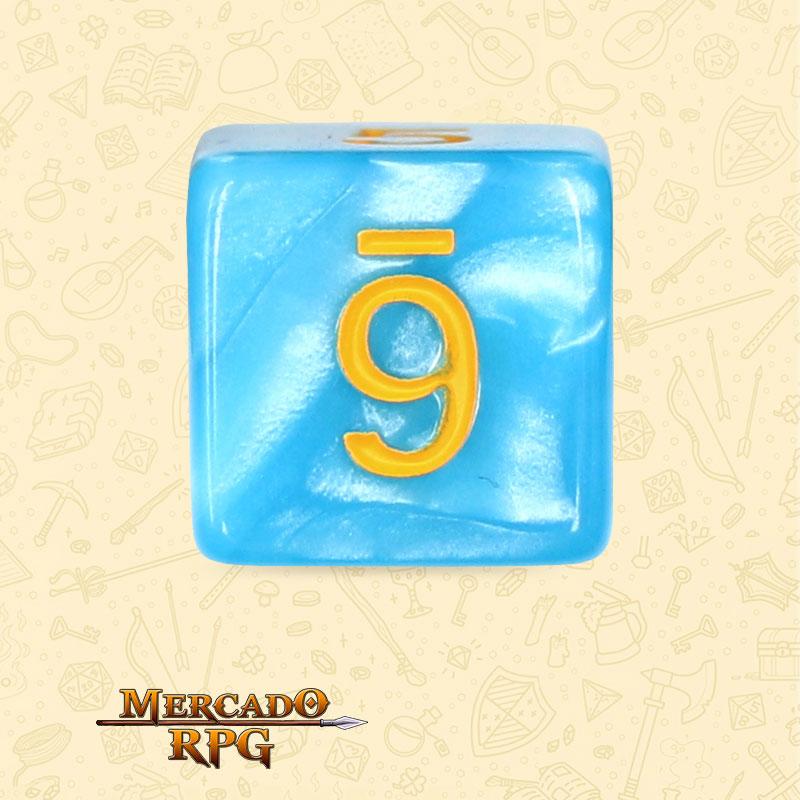 Dado de RPG - D6 Light Blue Dice Yellow Font - Seis Lados - Mercado RPG