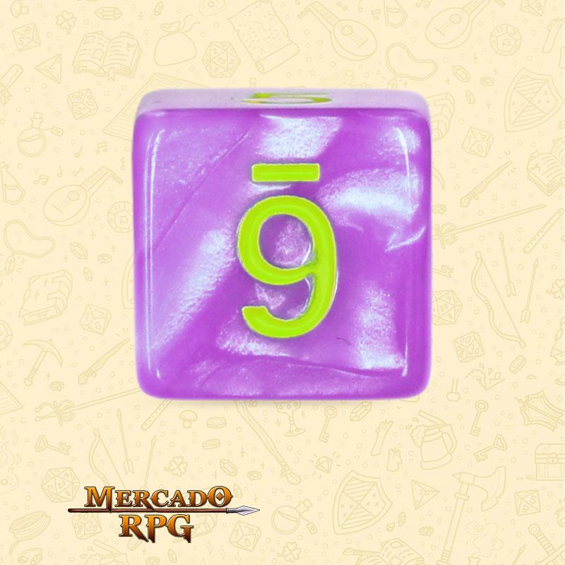 Dado de RPG - D6 Light Purple Dice Green Font - Seis Lados - Mercado RPG
