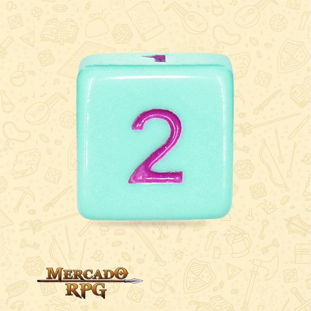 Dado de RPG - D6 Mint Rose Opaque Dice Purple Font - Seis Lados - Mercado RPG