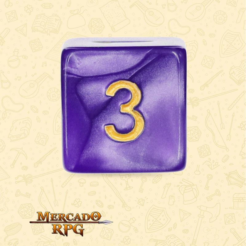 Dado de RPG - D6 Purple Pearl Dice Golden Font - Seis Lados - Mercado RPG
