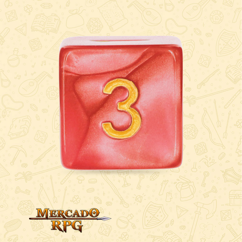 Dado de RPG - D6 Red Pearl Dice Golden Font - Seis Lados - Mercado RPG