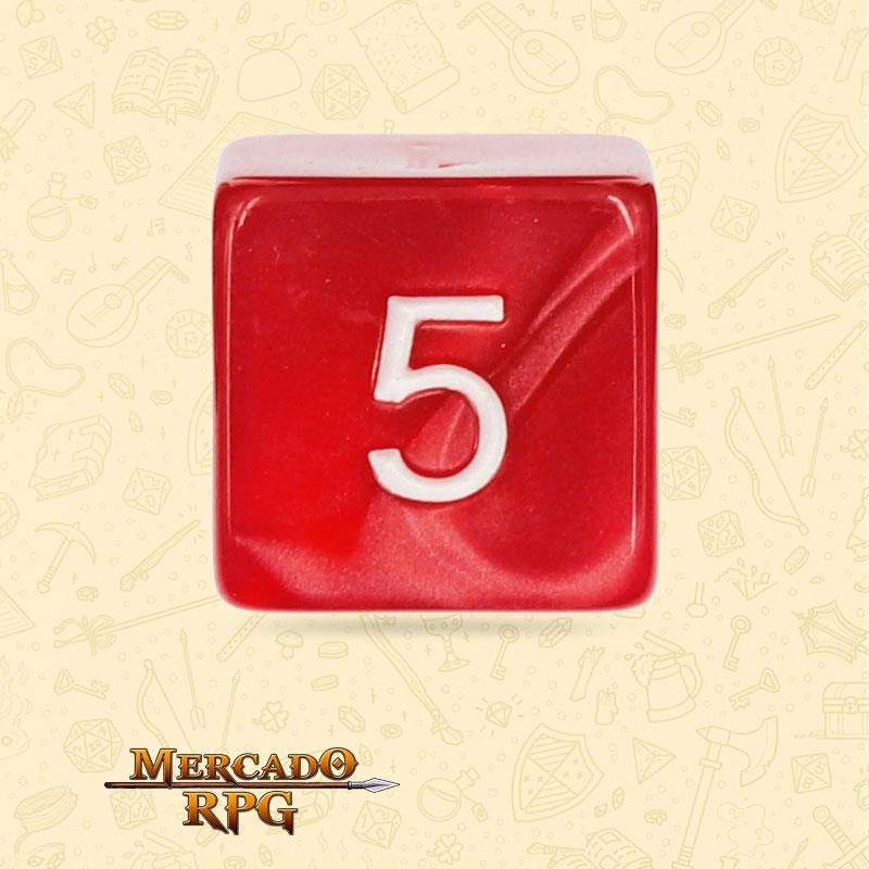 Dado de RPG - D6 Red Pearl Dice - Seis Lados - Mercado RPG