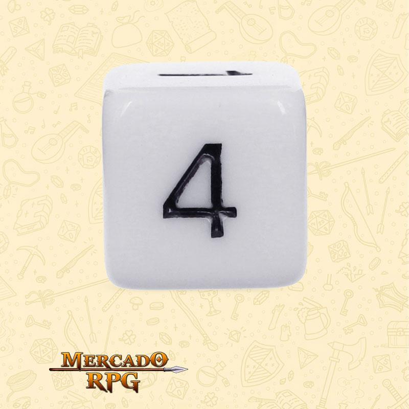 Dado de RPG - D6 White Opaque Dice - Seis Lados - Mercado RPG