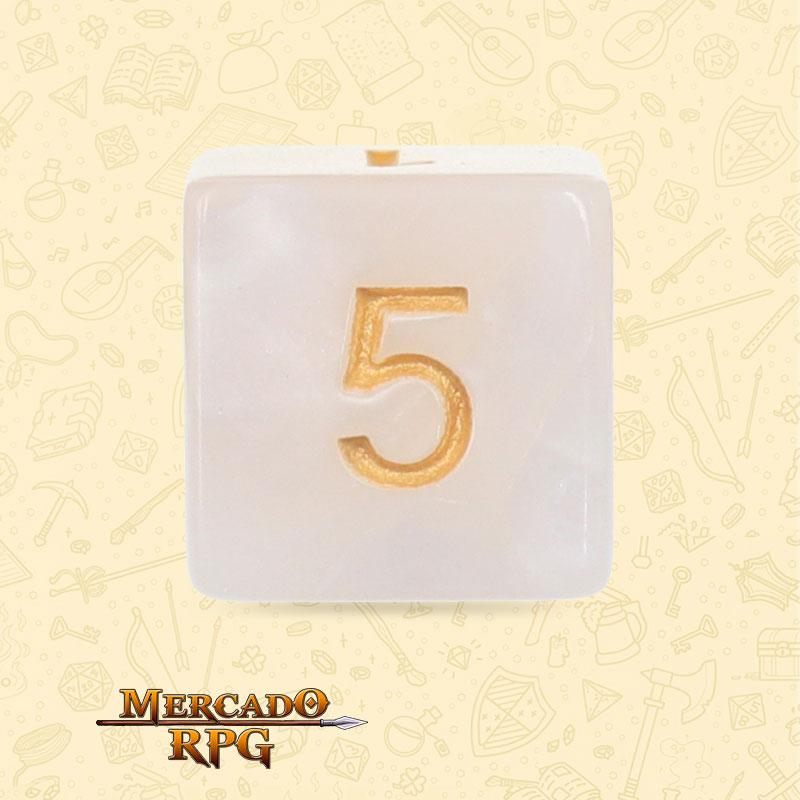Dado de RPG - D6 White Pearl Dice - Seis Lados - Mercado RPG
