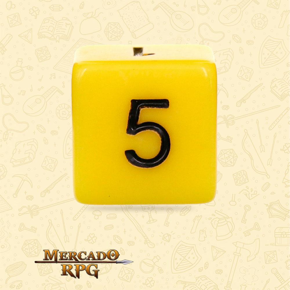 Dado de RPG - D6 Yellow Opaque Dice Black Font - Seis Lados - Mercado RPG