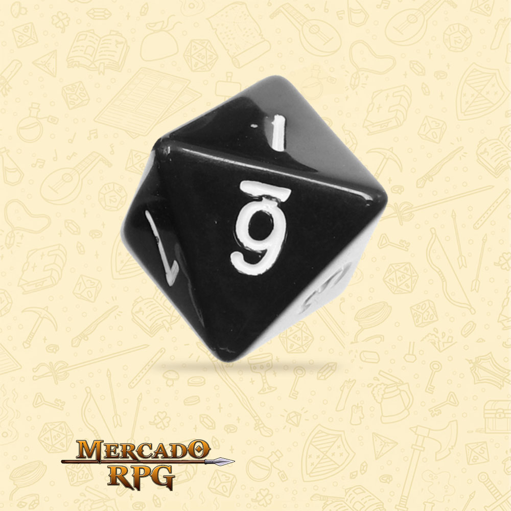 Dado de RPG - D8 Black Opaque Dice - Oito Lados - Mercado RPG