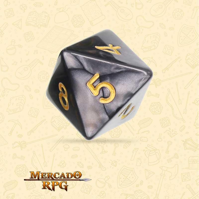 Dado de RPG - D8 Black Pearl Dice Golden Font - Oito Lados - Mercado RPG