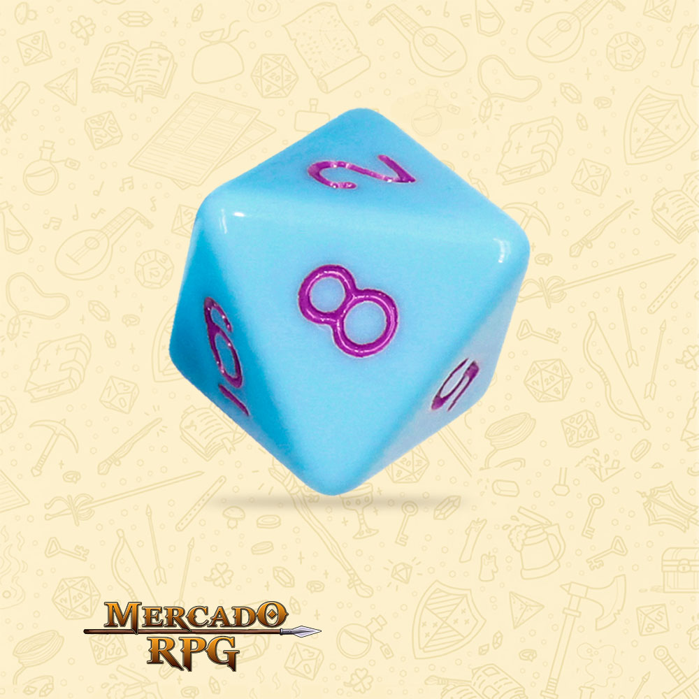 Dado de RPG - D8 Blue Jay Opaque Dice Purple Font - Oito Lados - Mercado RPG