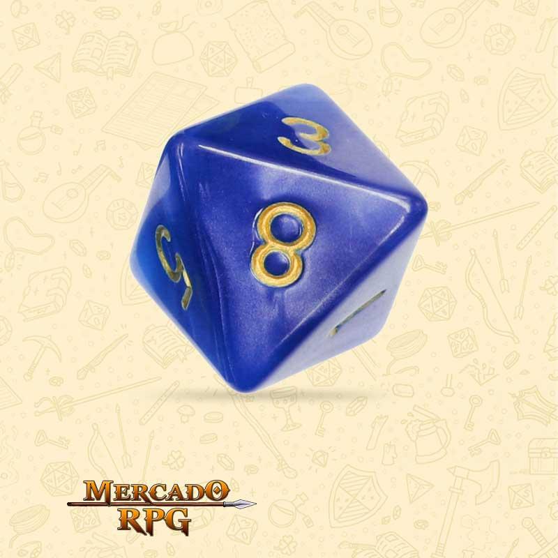 Dado de RPG - D8 Blue Pearl Dice Golden Font - Oito Lados - Mercado RPG
