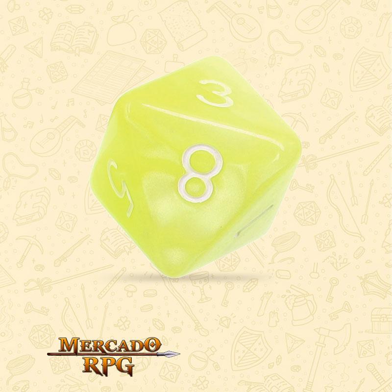 Dado de RPG - D8  Bright Yellow Pearl Dice - Oito Lados - Mercado RPG