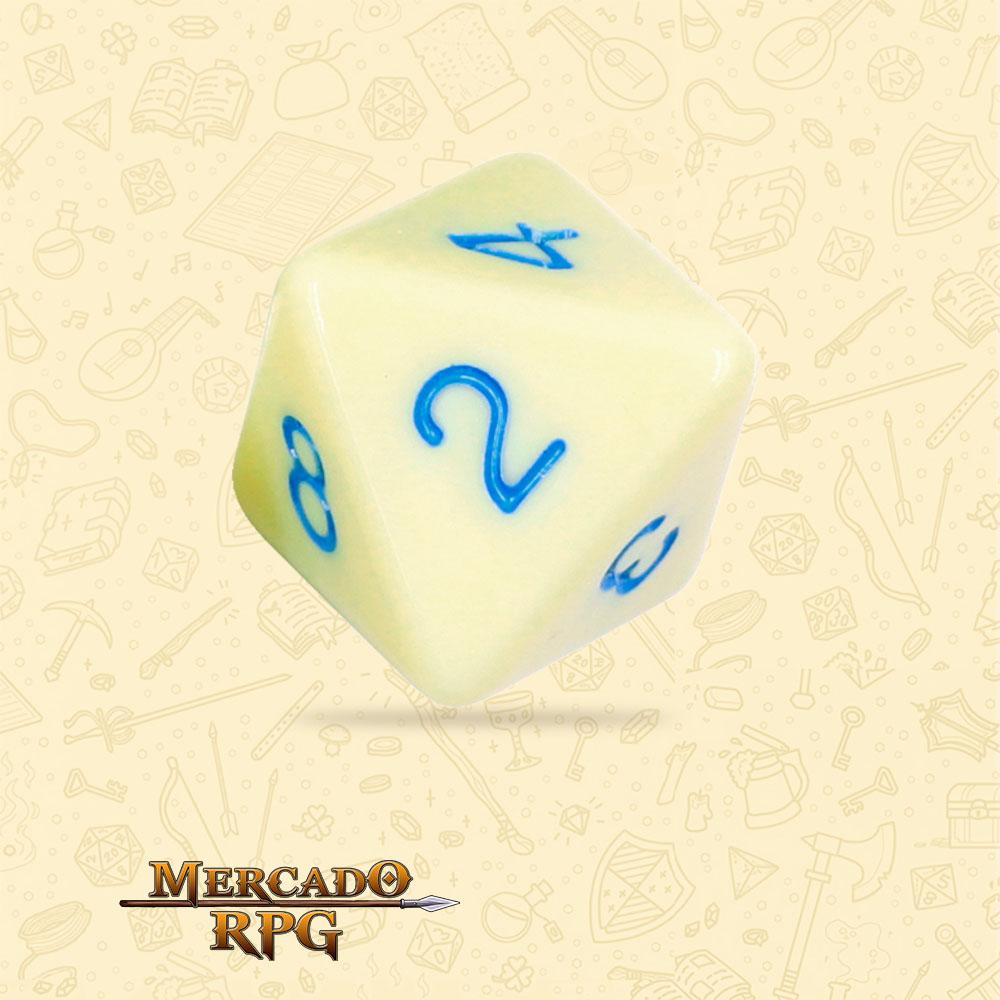 Dado de RPG - D8 Eggshell Robin Opaque Dice Blue Font - Oito Lados - Mercado RPG