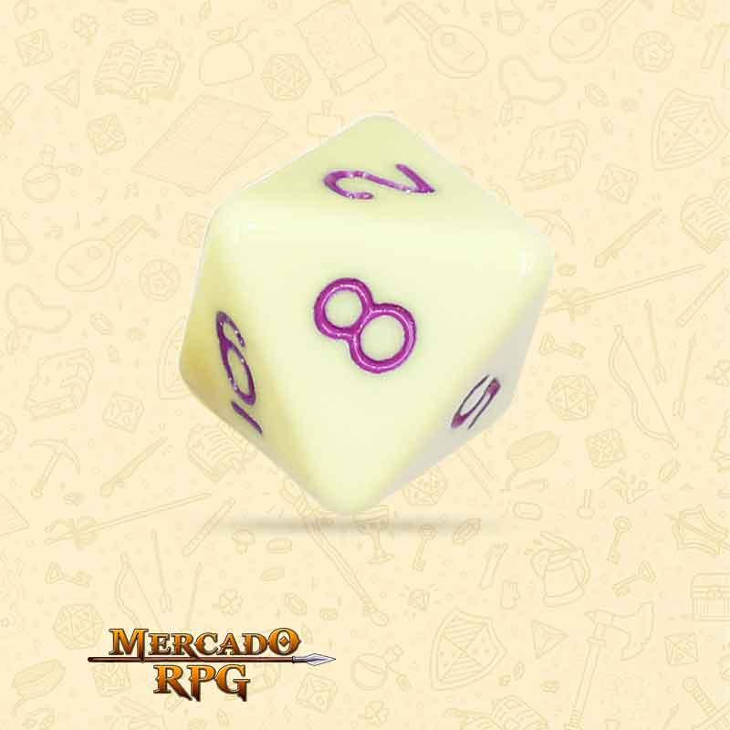 Dado de RPG - D8  Eggshell Rose Opaque Dice Purple Font - Oito Lados - Mercado RPG