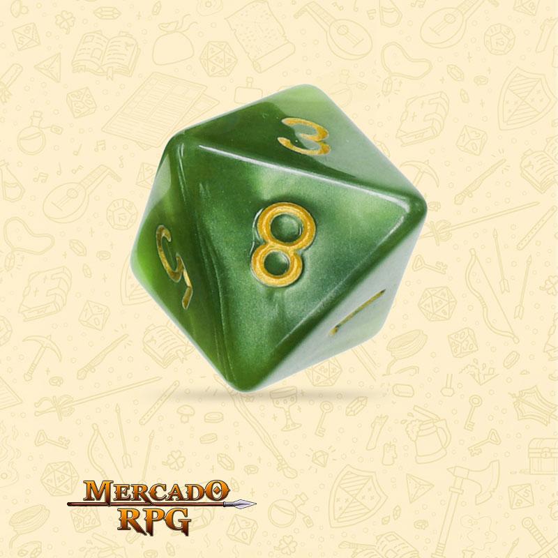 Dado de RPG - D8 Grass Green Pearl Dice Golden Font - Oito Lados - Mercado RPG
