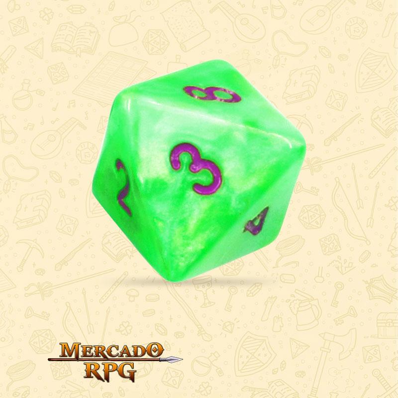 Dado de RPG - D8 Green Pearl Dice Purple Font - Oito Lados - Mercado RPG