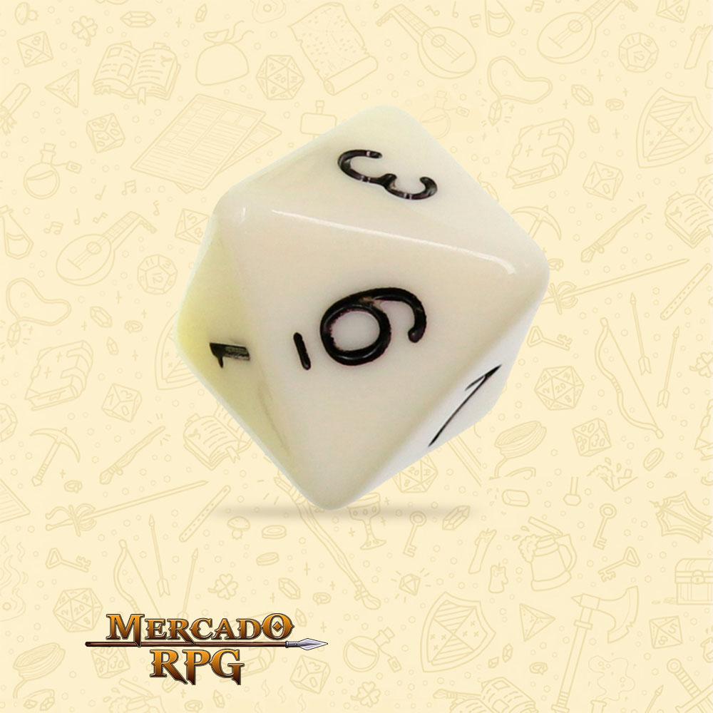 Dado de RPG - D8 Ivory Opaque Dice - Oito Lados - Mercado RPG