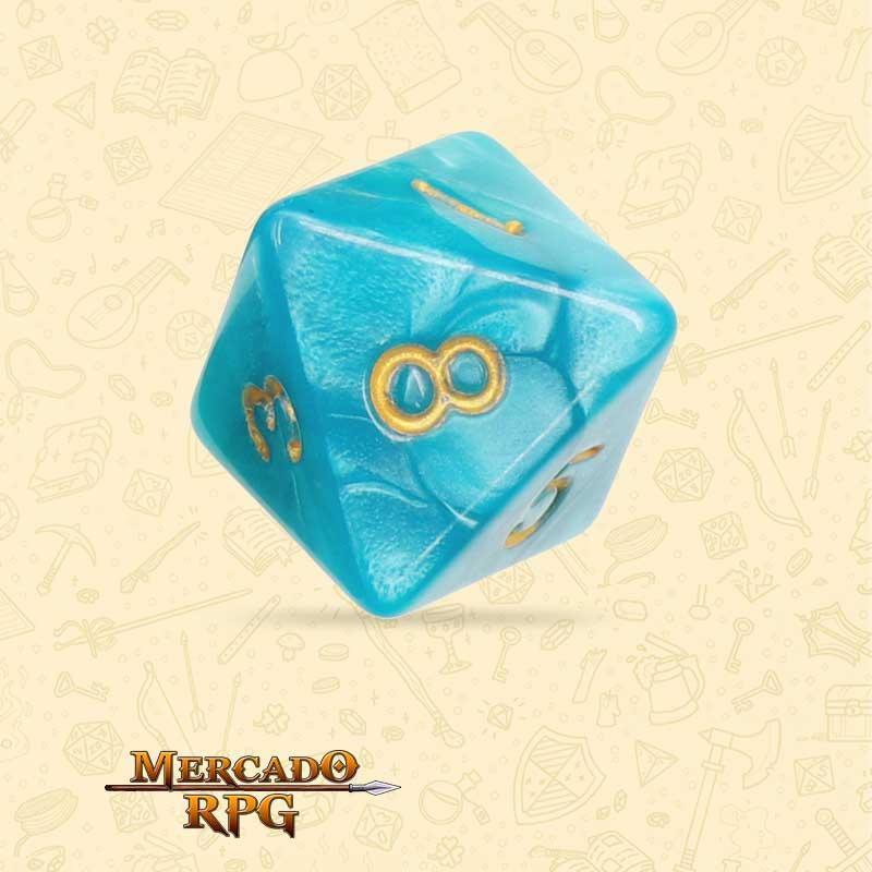 Dado de RPG - D8 Lake Blue Pearl Dice Golden Font - Oito Lados - Mercado RPG
