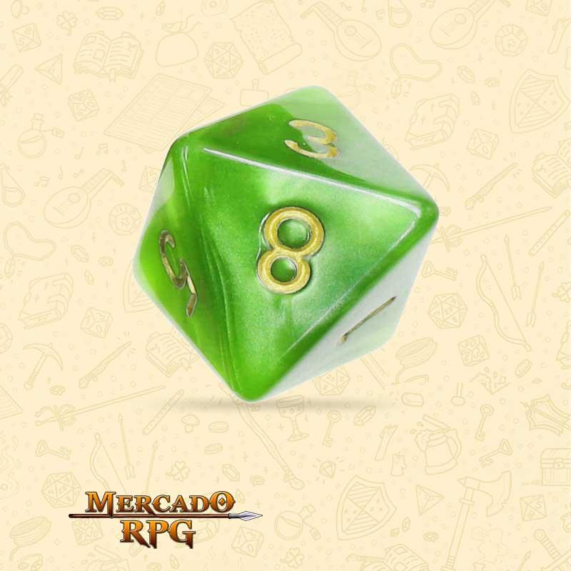 Dado de RPG - D8 Light Green Pearl Dice Golden Font - Oito Lados - Mercado RPG