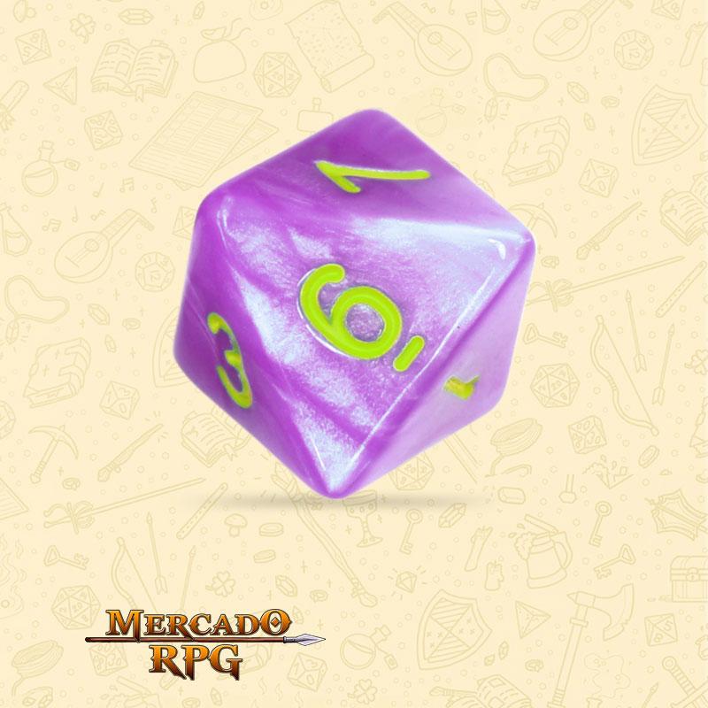 Dado de RPG - D8 Light Purple Dice Green Font - Oito Lados - Mercado RPG