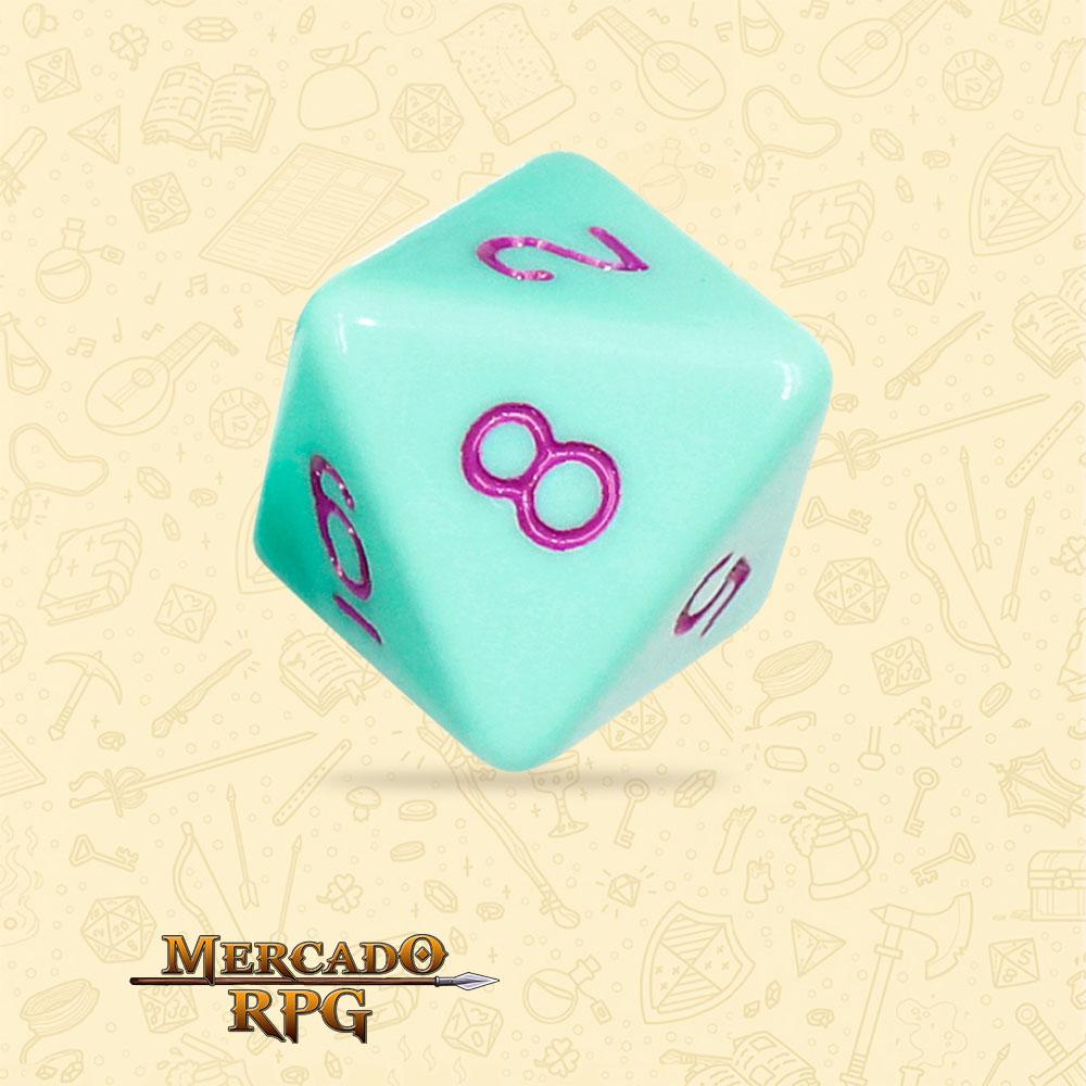Dado de RPG - D8 Mint Rose Opaque Dice Purple Font - Oito Lados - Mercado RPG