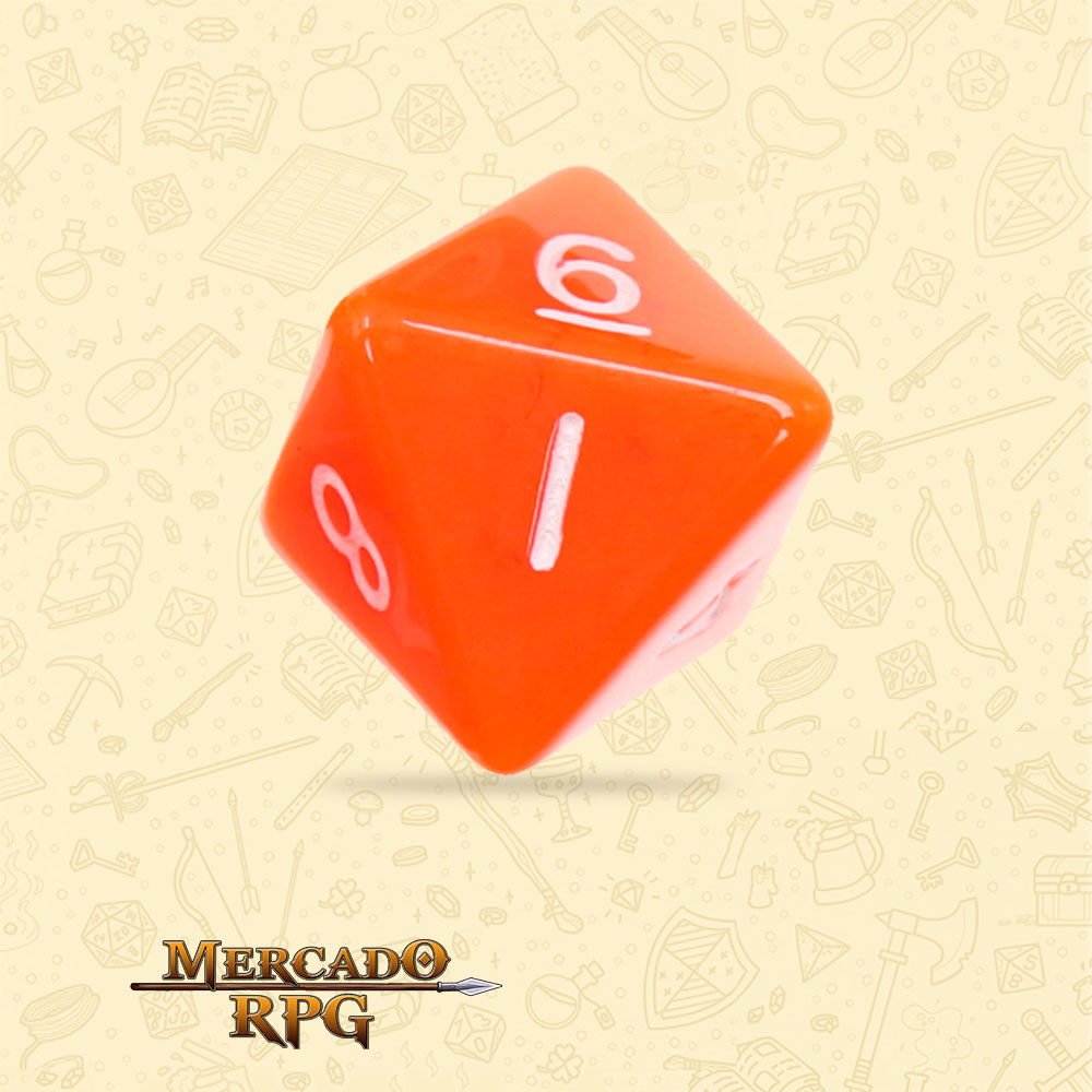 Dado de RPG - D8 Orange Opaque Dice - Oito Lados - Mercado RPG