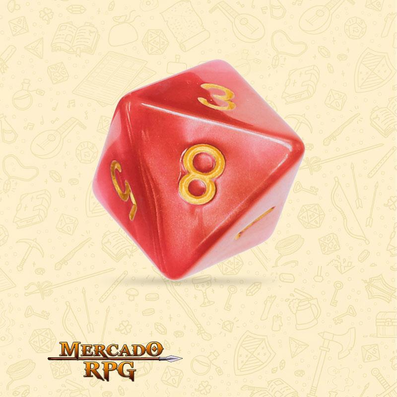 Dado de RPG - D8 Red Pearl Dice Golden Font - Oito Lados - Mercado RPG