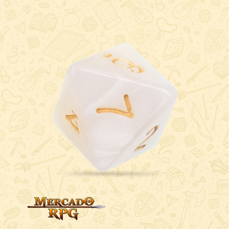 Dado de RPG - D8 White Pearl Dice - Oito Lados - Mercado RPG