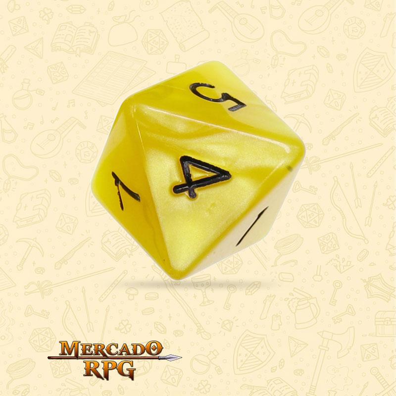 Dado de RPG - D8  Yellow Pearl Dice Black Font - Oito Lados - Mercado RPG