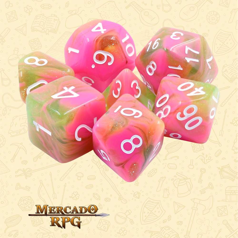 Dados de RPG - Conjunto com 7 Dados Aurora - Apple Taffy Aurora Dice - Mercado RPG