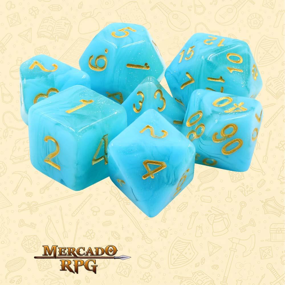 Dados de RPG - Conjunto com 7 Dados Aurora - Atlantis Aurora Dice - Mercado RPG