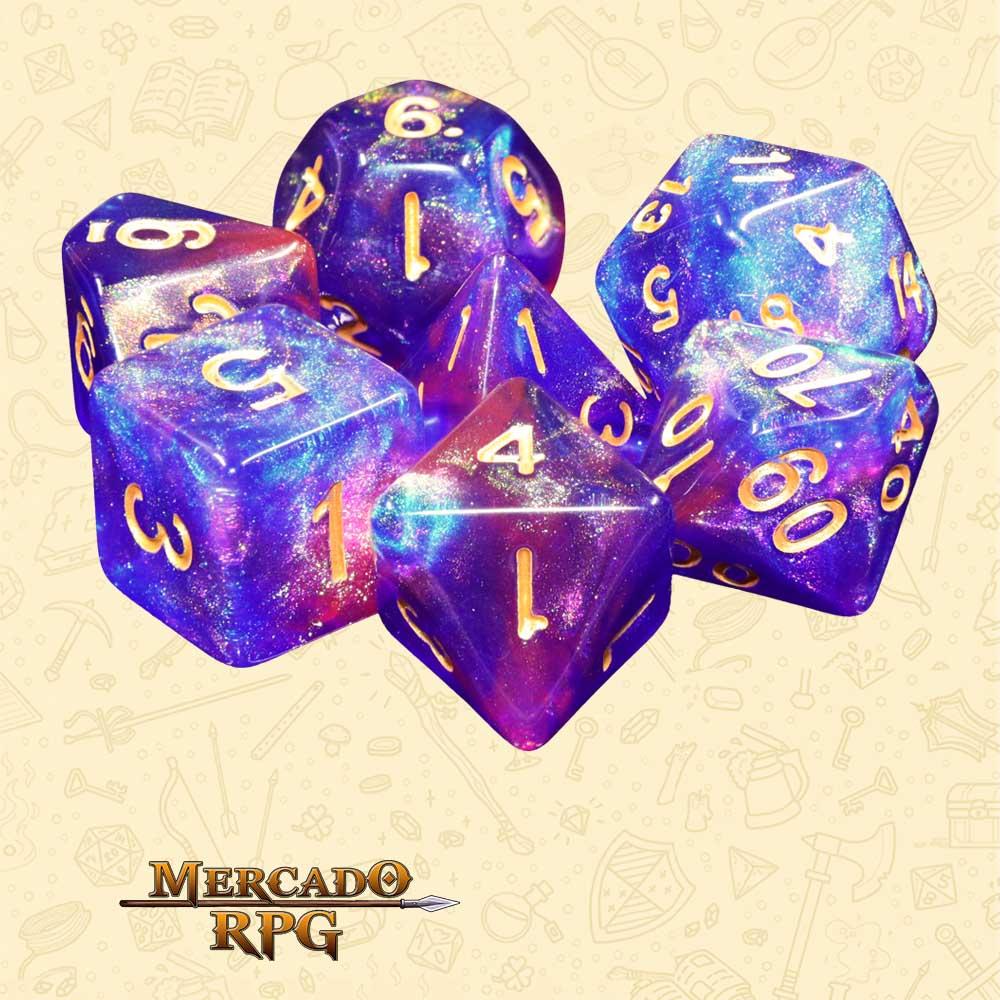 Dados de RPG - Conjunto com 7 Dados Aurora - Blue Enchantress Aurora Dice - Mercado RPG