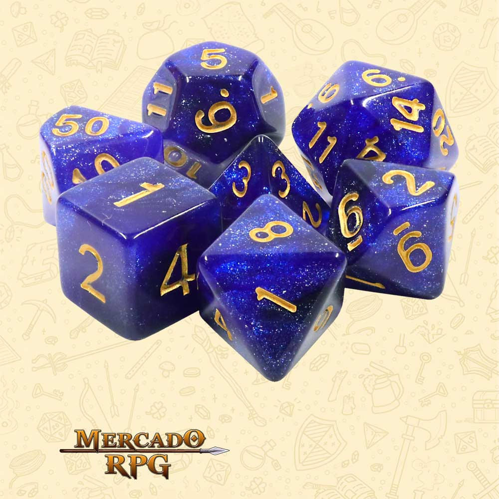 Dados de RPG - Conjunto com 7 Dados Aurora - Blue Galaxy Aurora Dice - Mercado RPG