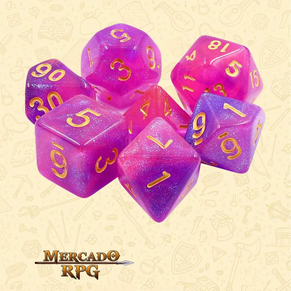 Dados de RPG - Conjunto com 7 Dados Aurora - Briar Rose Aurora Dice - Mercado RPG