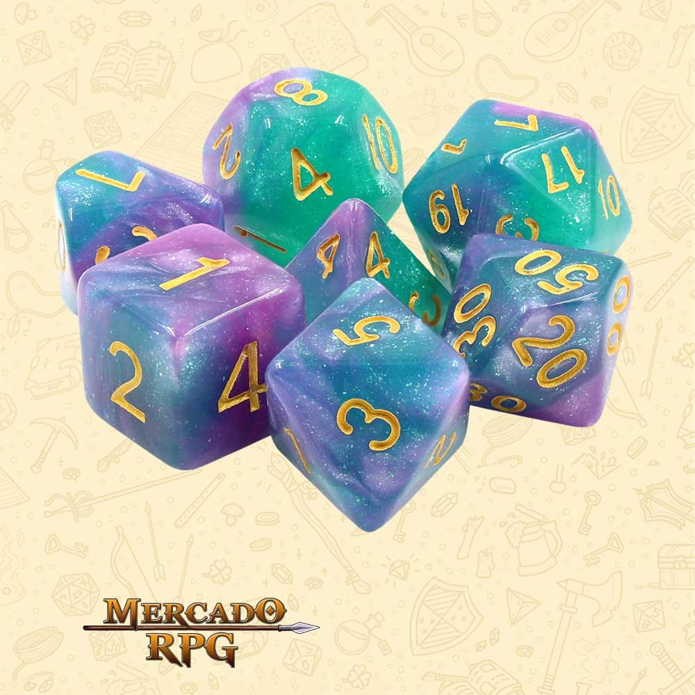 Dados de RPG - Conjunto com 7 Dados Aurora - Byzantium Aurora Dice - Mercado RPG