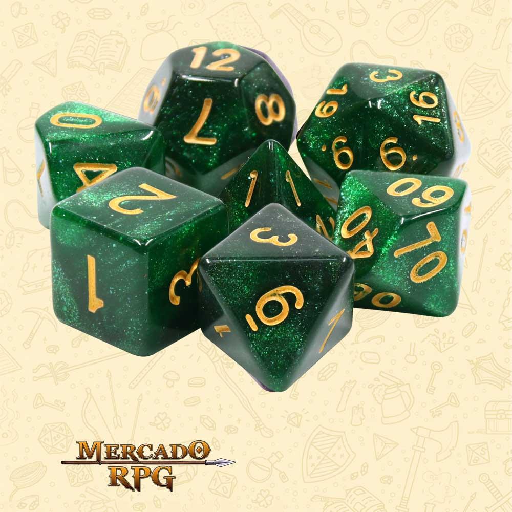 Dados de RPG - Conjunto com 7 Dados Aurora - Green Galaxy Aurora Dice - Mercado RPG