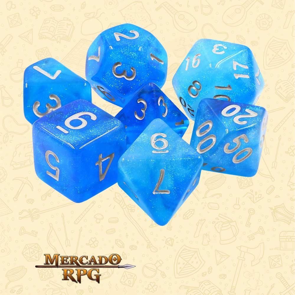Dados de RPG - Conjunto com 7 Dados Aurora - Mermaid's Tear Aurora Dice - Mercado RPG