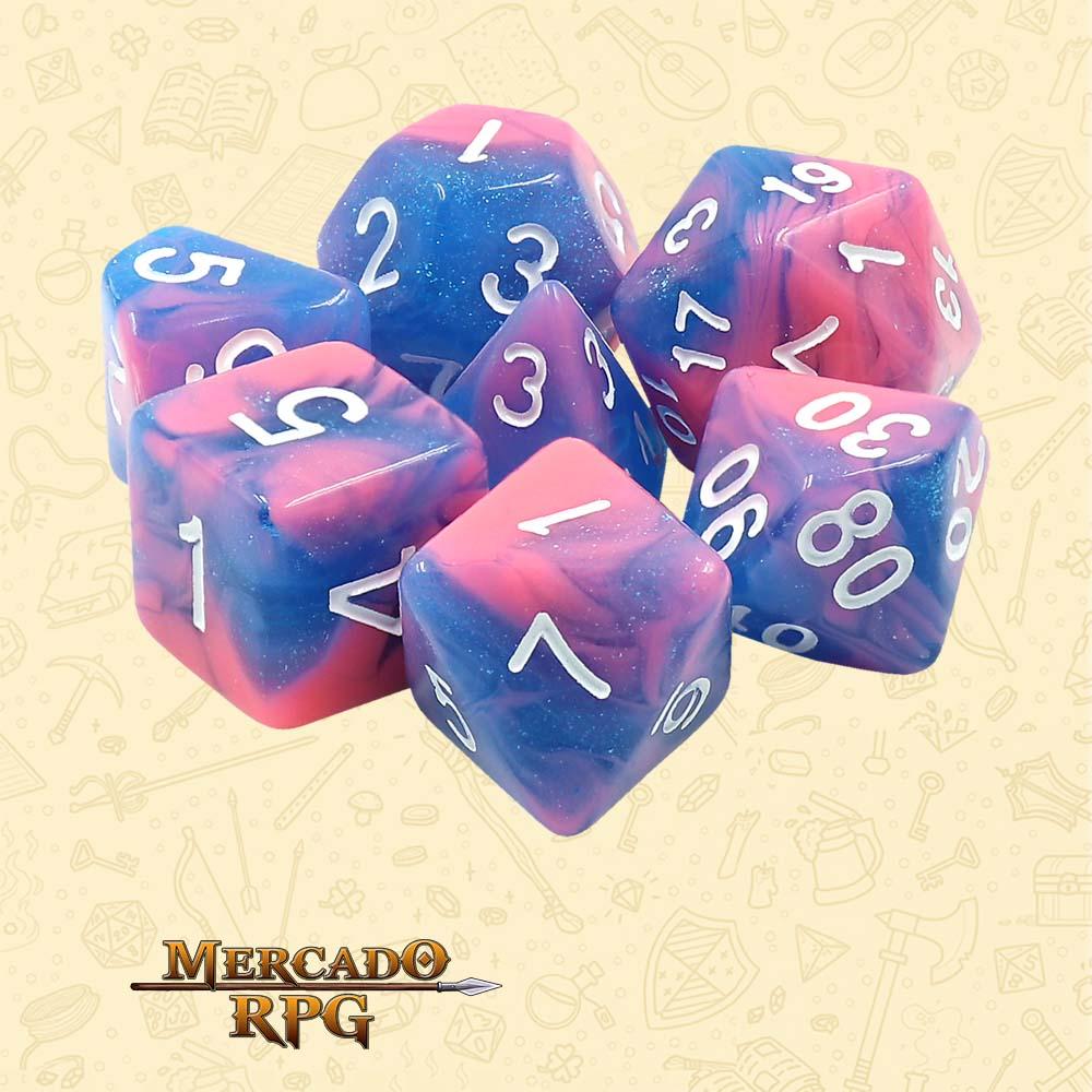 Dados de RPG - Conjunto com 7 Dados Aurora - Miami Vice Aurora Dice - Mercado RPG
