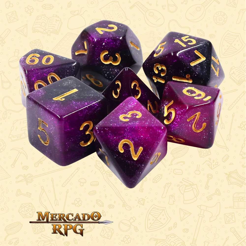 Dados de RPG - Conjunto com 7 Dados Aurora - Purple Galaxy Aurora Dice - Mercado RPG
