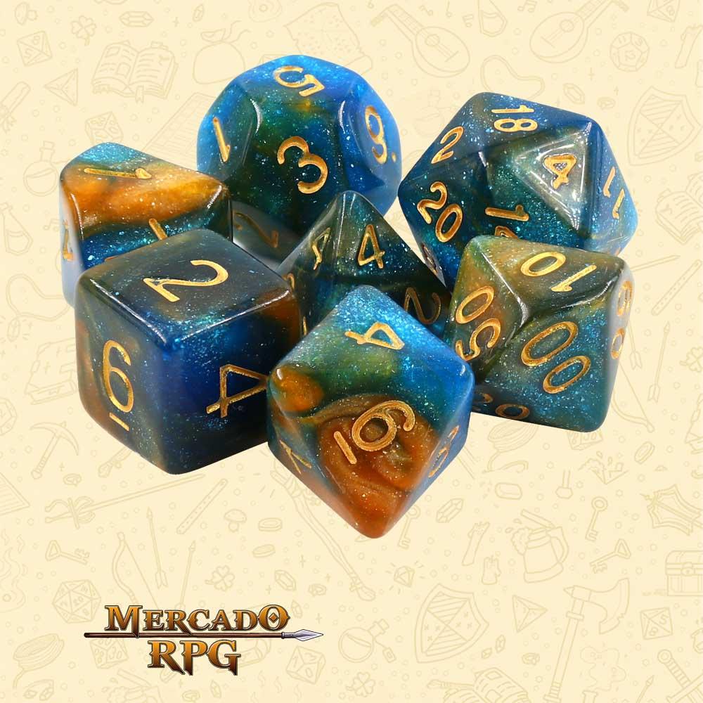 Dados de RPG - Conjunto com 7 Dados Aurora - River at Dusk Aurora Dice - Mercado RPG