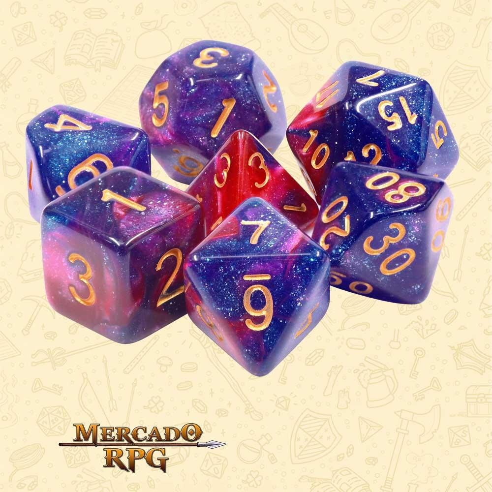Dados de RPG - Conjunto com 7 Dados Aurora - Rose Galaxy Aurora Dice - Mercado RPG