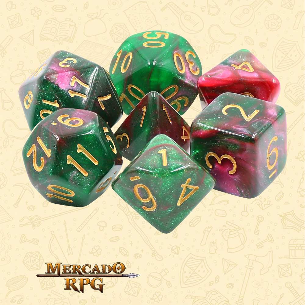Dados de RPG - Conjunto com 7 Dados Aurora - Rose Way Aurora Dice - Mercado RPG