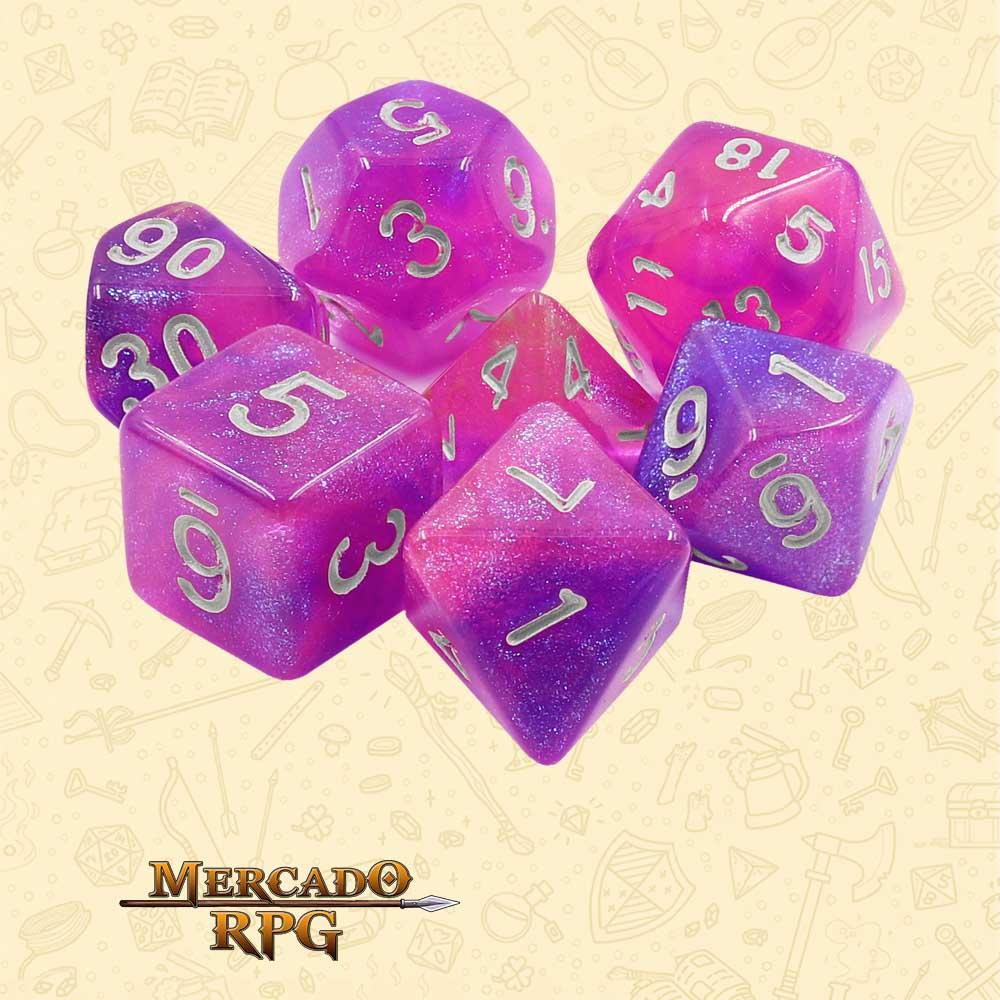 Dados de RPG - Conjunto com 7 Dados Aurora - Royal Aurora Dice - Mercado RPG