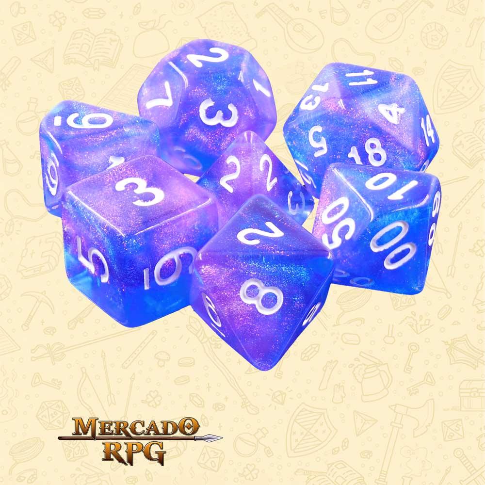 Dados de RPG - Conjunto com 7 Dados Aurora - Sapphire Phantom Aurora Dice - Mercado RPG