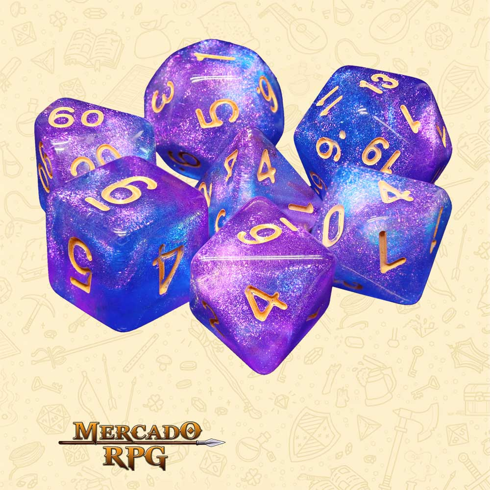 Dados de RPG - Conjunto com 7 Dados Aurora - Secret Stars Aurora Dice - Mercado RPG