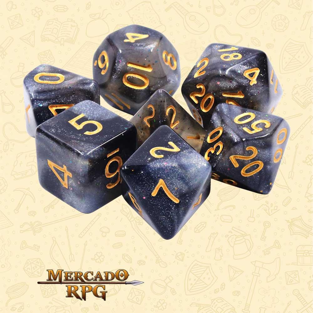 Dados de RPG - Conjunto com 7 Dados Aurora - Silver Sparkle Aurora Dice - Mercado RPG