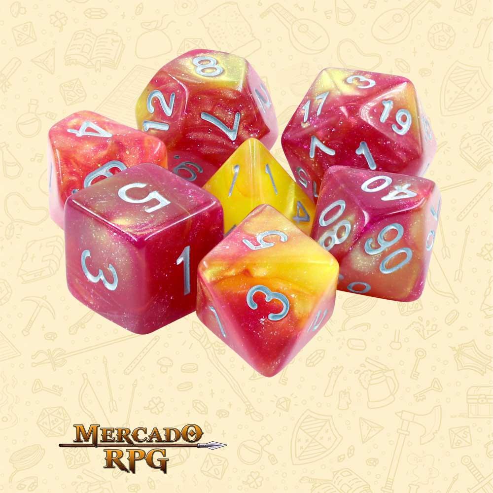 Dados de RPG - Conjunto com 7 Dados Aurora - Solar Wind Aurora Dice - Mercado RPG